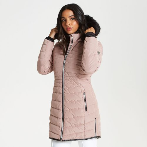 Women's Striking Long Length Quilted Luxe Ski Jacket Mink Pink